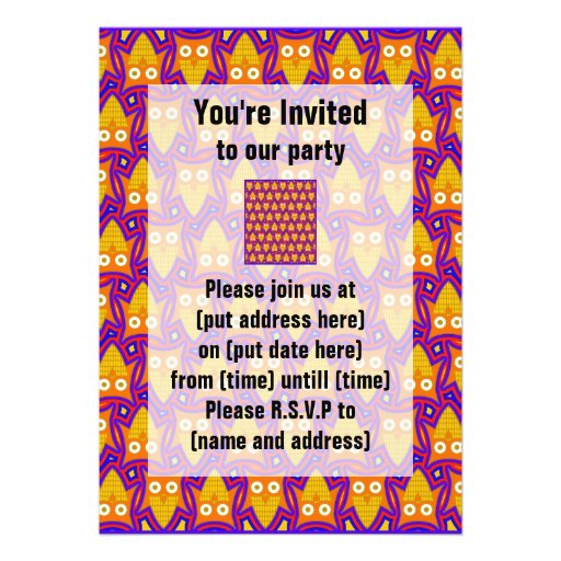 Blue and Orange Owl Pattern Personalized Invitation