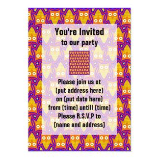 Blue and Orange Owl Pattern 5x7 Paper Invitation Card