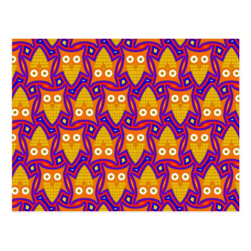 Blue and Orange Owl Pattern Post Cards