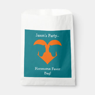 Blue and Orange Personalized Horse Favour Bag