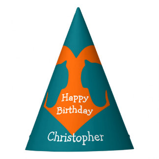 Blue and Orange Personalized Horse Party Hat
