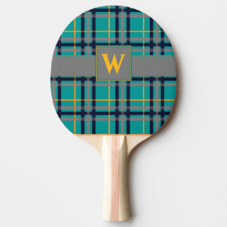 Blue and Orange Plaid Ping Pong Paddle
