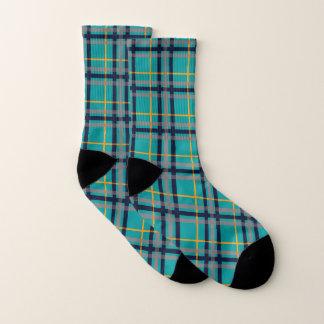 Blue and Orange Plaid Socks 1