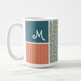 Blue and Orange Retro Pattern Coffee Mugs