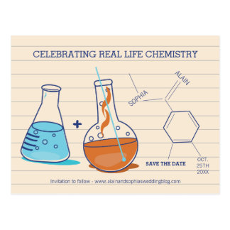 Blue and Orange Save the Date Chemistry Postcards