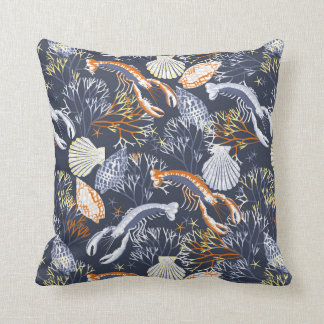 Blue and Orange Sea Life Crabs and Seashells Throw Pillow