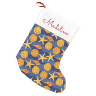 Blue And Orange Seashell Pattern | Add Your Name Small Christmas Stocking