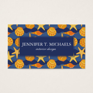 Blue And Orange Seashell Pattern Business Card