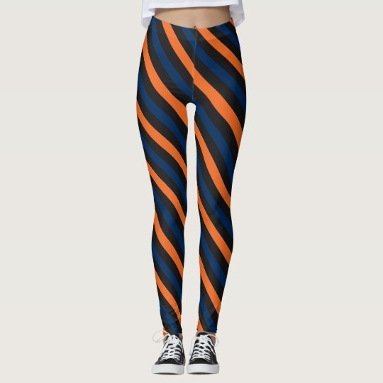 Blue and Orange Small Diagonal Stripe Leggings