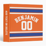 Blue and Orange Sports Jersey Custom Name Number Binders