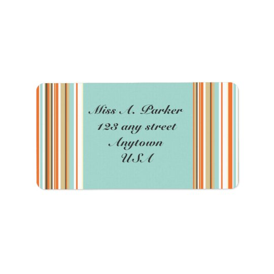 Blue and Orange Striped Simple Address labels