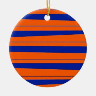 Blue and Orange Stripes Bold Gators Pattern Ceramic Ornament