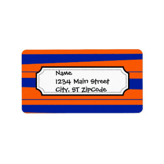 Blue and Orange Stripes Bold Gators Pattern Label