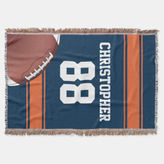 Blue and Orange Stripes Jersey Grid Iron Football Throw Blanket