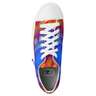 Blue and Orange Sun Low Top Shoes