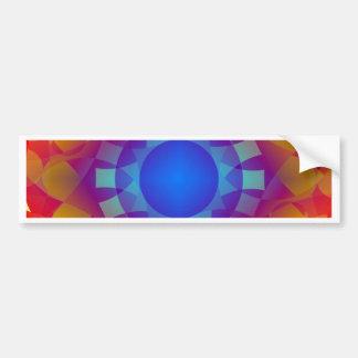 Blue and Orange Sun Pattern Bumper Sticker