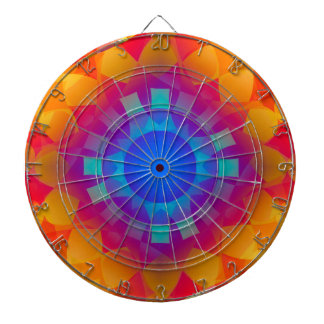 Blue and Orange Sun Pattern Dart Board