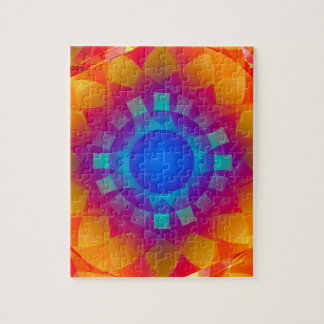 Blue and Orange Sun Pattern Jigsaw Puzzle