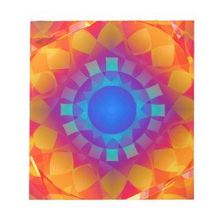 Blue and Orange Sun Pattern Notepad