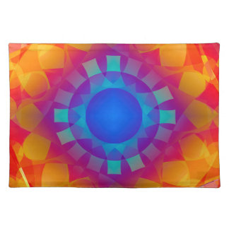 Blue and Orange Sun Pattern Placemat