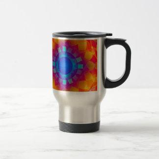 Blue and Orange Sun Pattern Travel Mug