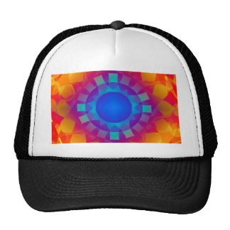 Blue and Orange Sun Pattern Trucker Hat