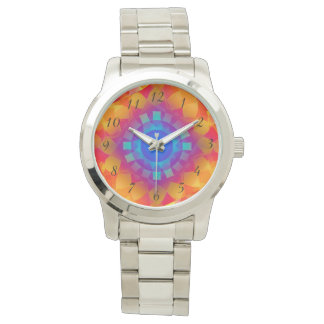 Blue and orange sun pattern wrist watch