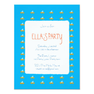 Blue and orange watercolor flowers card