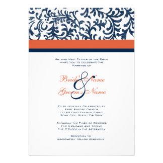Blue and Orange Wedding Invitation