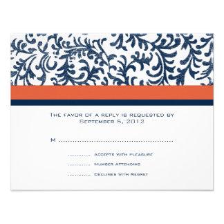 Blue and Orange Wedding RSVP Invites