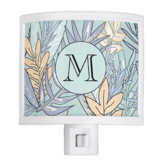 Blue and Peach Abstract Floral #1 Monogrammed Night Lite