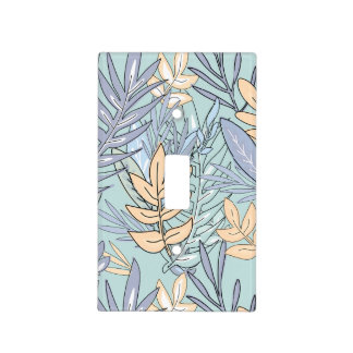 Blue and Peach Abstract Floral Light Switch Cover