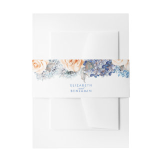 Blue and Peach Floral Elegant Wedding Invitation Belly Band