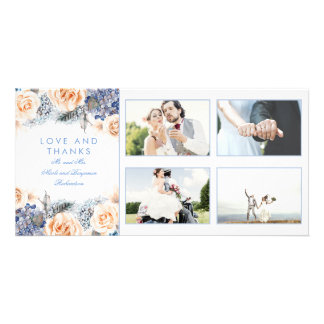 Blue and Peach Floral Wedding Thank You Card