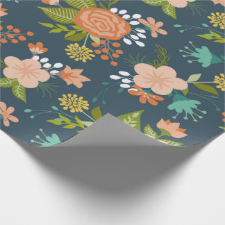 Blue and Peach Garden Floral Design Wrapping Paper