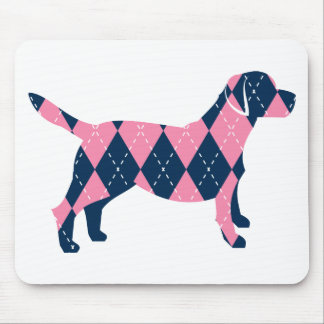 Blue and Pink Argyle Labrador Dog T-Shirt Mouse Pad