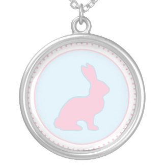 Blue and Pink Bunny Necklace