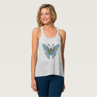 Blue and Pink Butterfly Tank Top