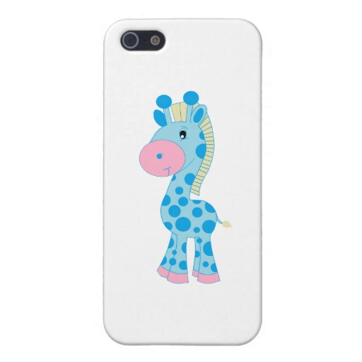 Blue and Pink Cartoon Baby Giraffe Cover For iPhone 5
