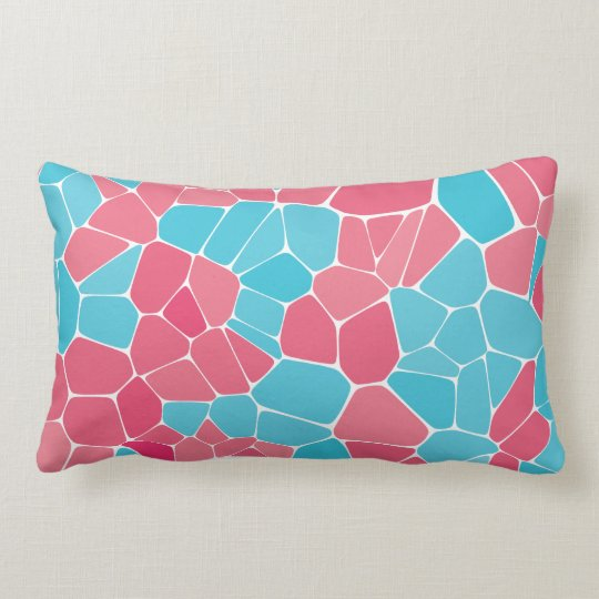 Blue and Pink Diagram Throw Pillow