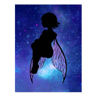 Blue and Pink Fairy Silhouette Postcard