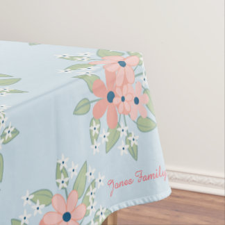 Blue and Pink Floral Personalize Tablecloth