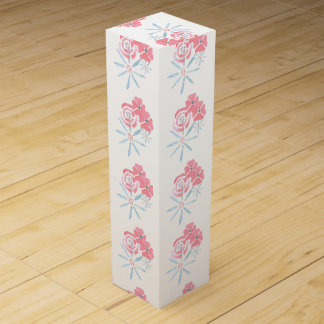 Blue and pink floral wine box