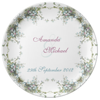 Blue and pink forget me nots porcelain plates