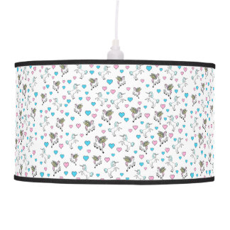 Blue and Pink Hearts, Unicorns and Pegasus Horses Pendant Lamp
