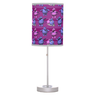 Blue and Pink Hippos Table Lamp