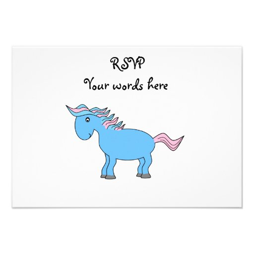 Blue and pink horse personalized invites