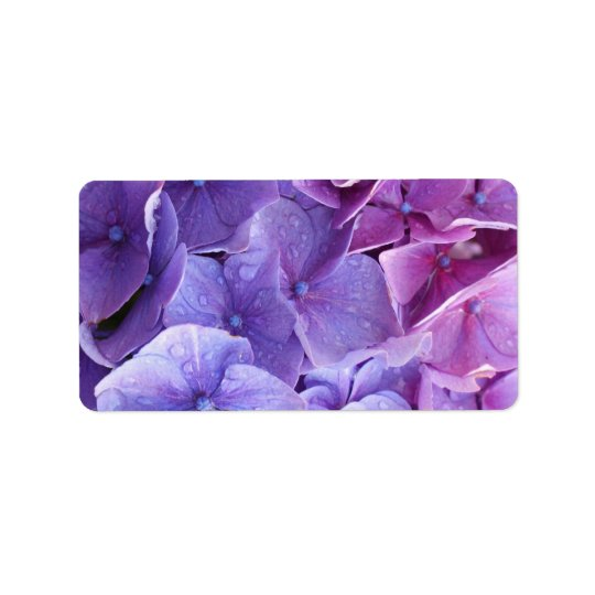 Blue and pink hortensia close up label