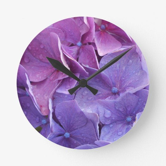 Blue and pink hortensia close up round clock