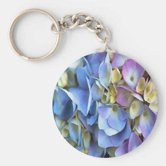 Blue and Pink Hydrangea Flowers Basic Round Button Keychain